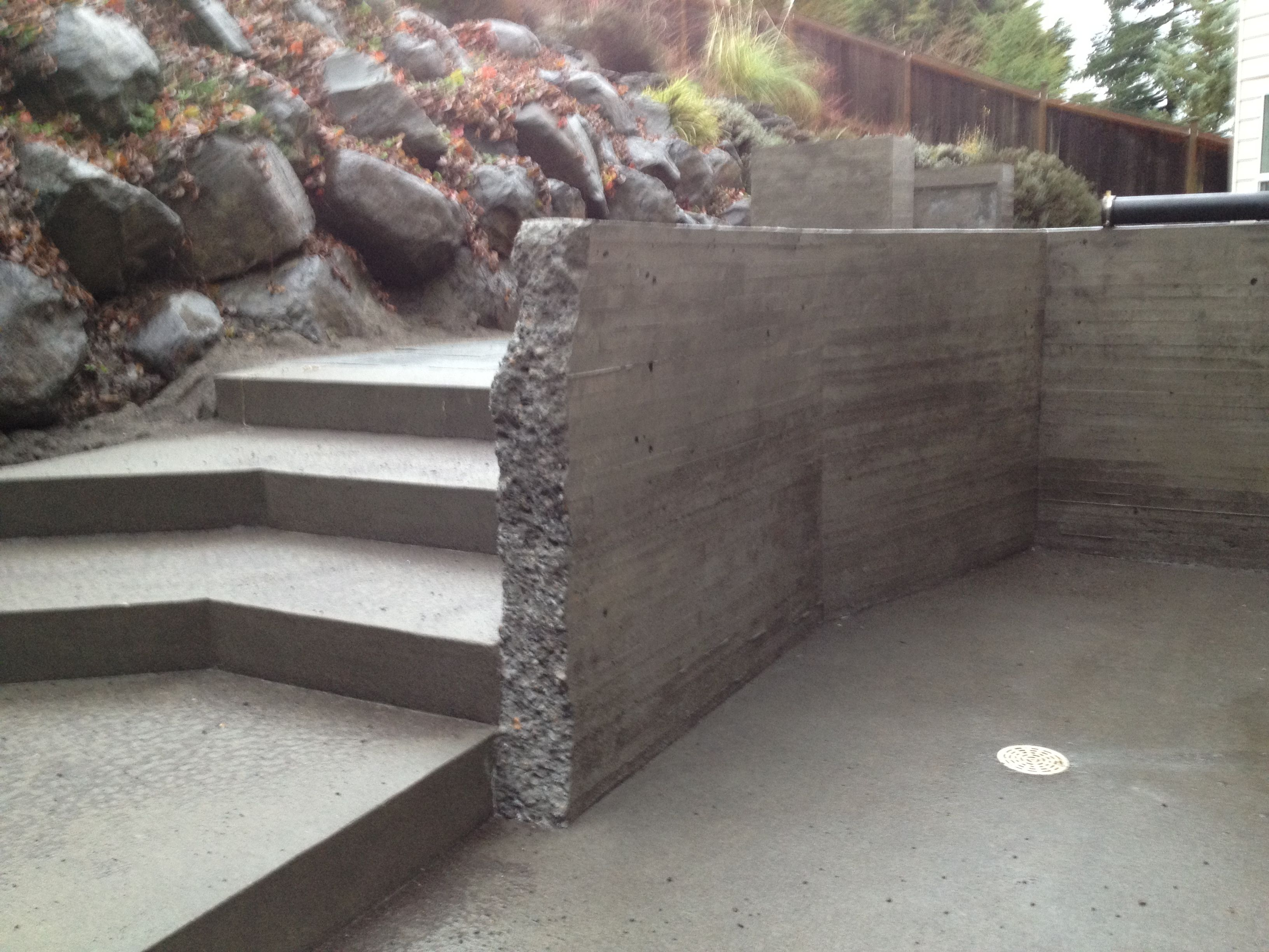 Deconstructed Board Formed Concrete Wall Acid Washed