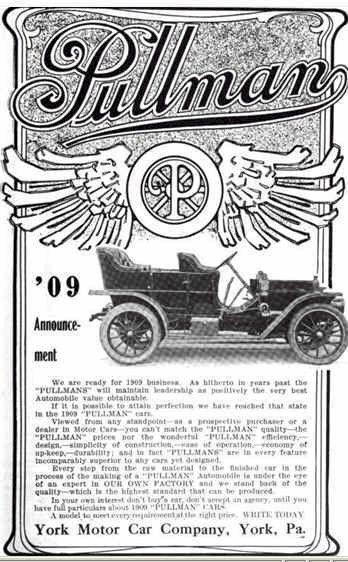 1909 Pullman Automobile Advertisement Automobile Advertising