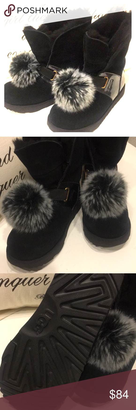 d8fdf6d1bd3 UGG Girls Black Boot with Detachable Fluff ball UGG Girls Isley ...