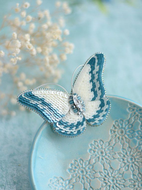 462cfce1c5b Teal and White Butterfly Brooch, Crystal Butterfly, Swarovski Pin, Insect  Jewelry, Gift for Girlfrie