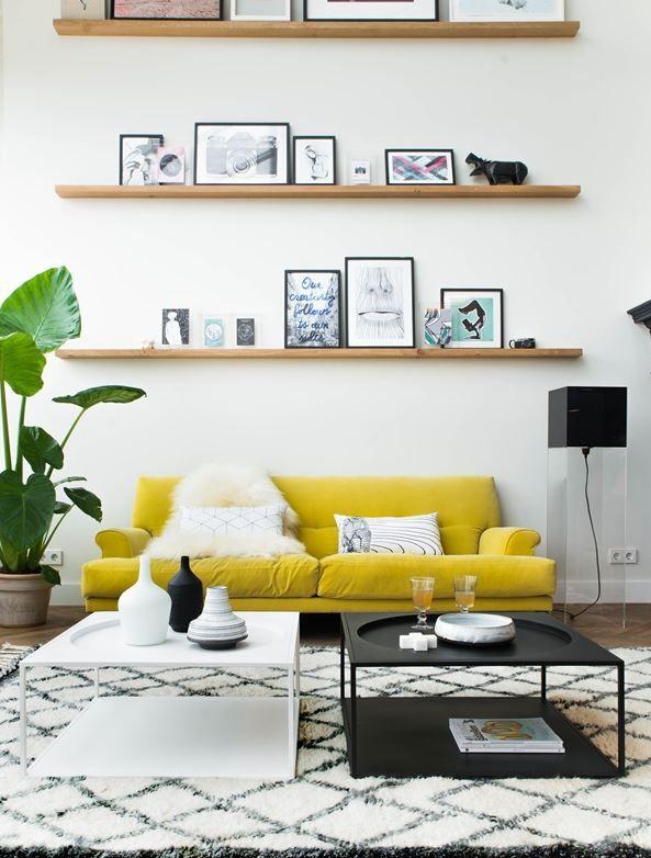 yellow in a modern scandi flat  yellow decor living room