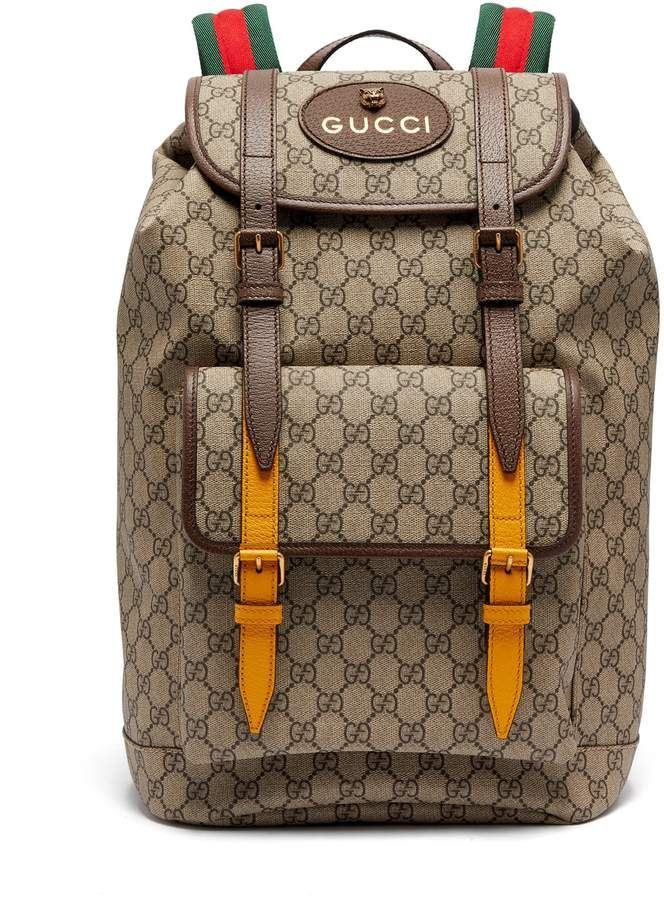 b4bd7822a6f1 Gucci GG Supreme-print leather-trimmed canvas backpack | bag in 2019 ...