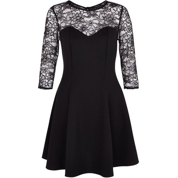 Black Lace 3/4 Sleeve Skater Dress (€20) ❤ liked on Polyvore featuring dresses, robe, lace cocktail dress, evening dresses, lace fit and flare dress, black evening dresses e black lace cocktail dress