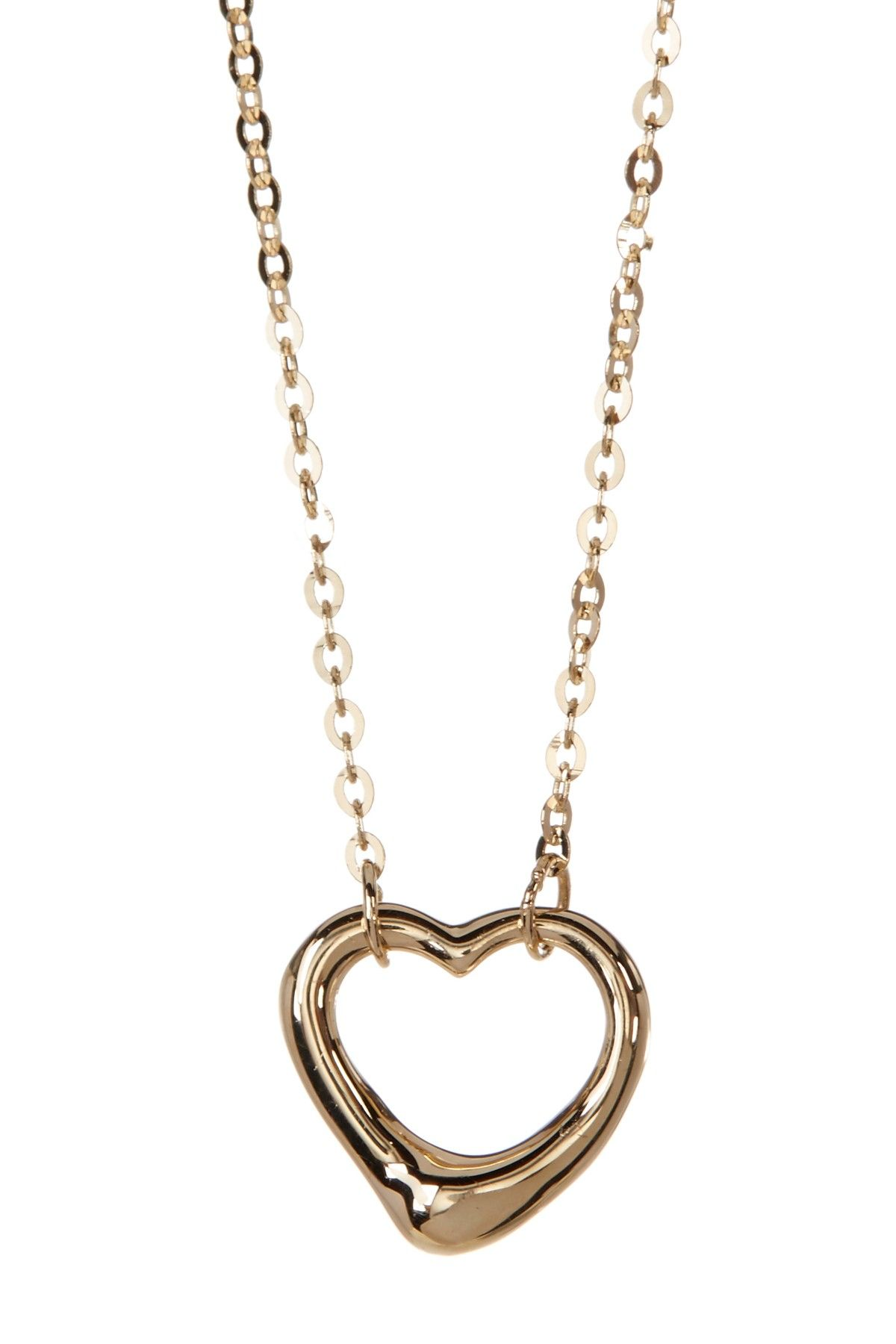 K Yellow Gold Open Heart Pendant Necklace Free shipping and Products