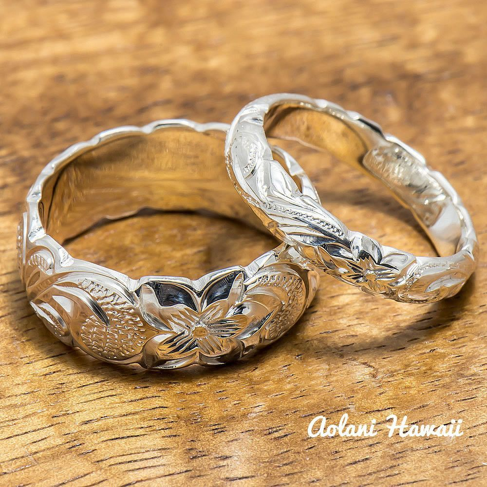 Sterling silver ring set set of traditional hawaiian hand engraved