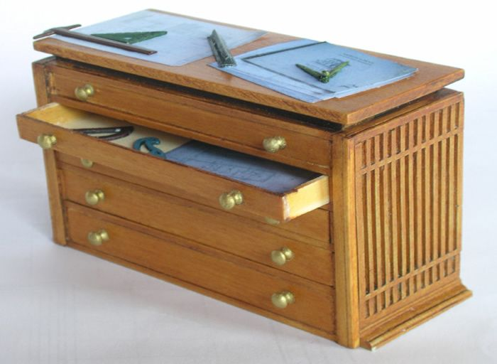 Amazing Miniature Architectural Drafting Table And File Drawers
