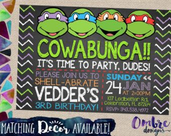 Ninja Turtle Invitation Ninja Turtles Party Ninja by OmbreDesigns
