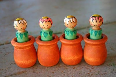 Flower people in pots - another way to carry on my obsession with painted wooden figures