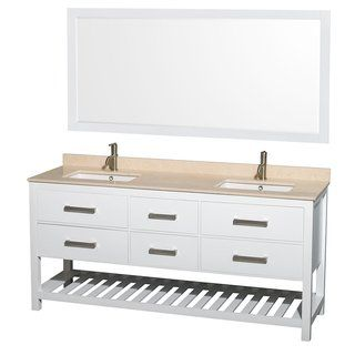Wyndham Collection Natalie 72 Inch White Um Square Sink And 70