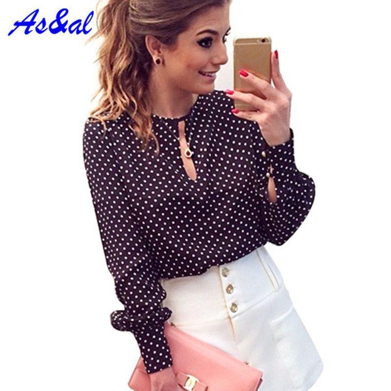 S-XL Women Blusas Femininas Blusa De Renda Polka Dot Print Shirts Vintage Chiffon Blouse Tops Long Sleeve Shirt
