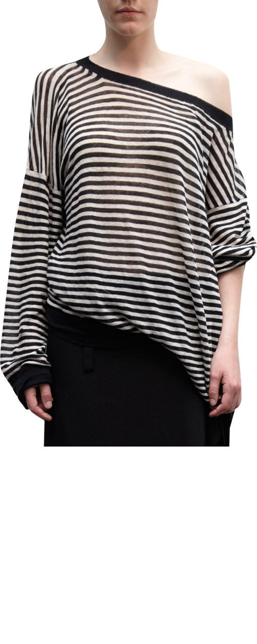 Ann Demeulemeester Striped Off Shoulder Sweater