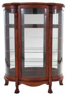 Bow Front Glass Curio Cabinet Glass Curio Cabinets Antique China Cabinets Curio Cabinet