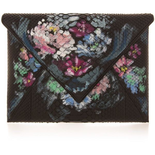 Marchesa Elisa Envelope Snakeskin Clutch (¥175,160) ❤ liked on Polyvore featuring bags, handbags, clutches, purses, accessories, bolsas, clear purse, snake skin handbags, python handbag and flap purse