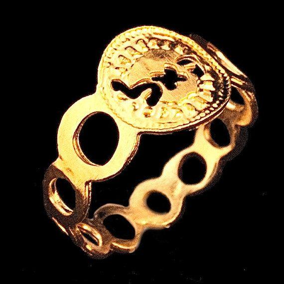 Kabbalah small circle gold ring - size  6 3/4  By Kelka Jewelry