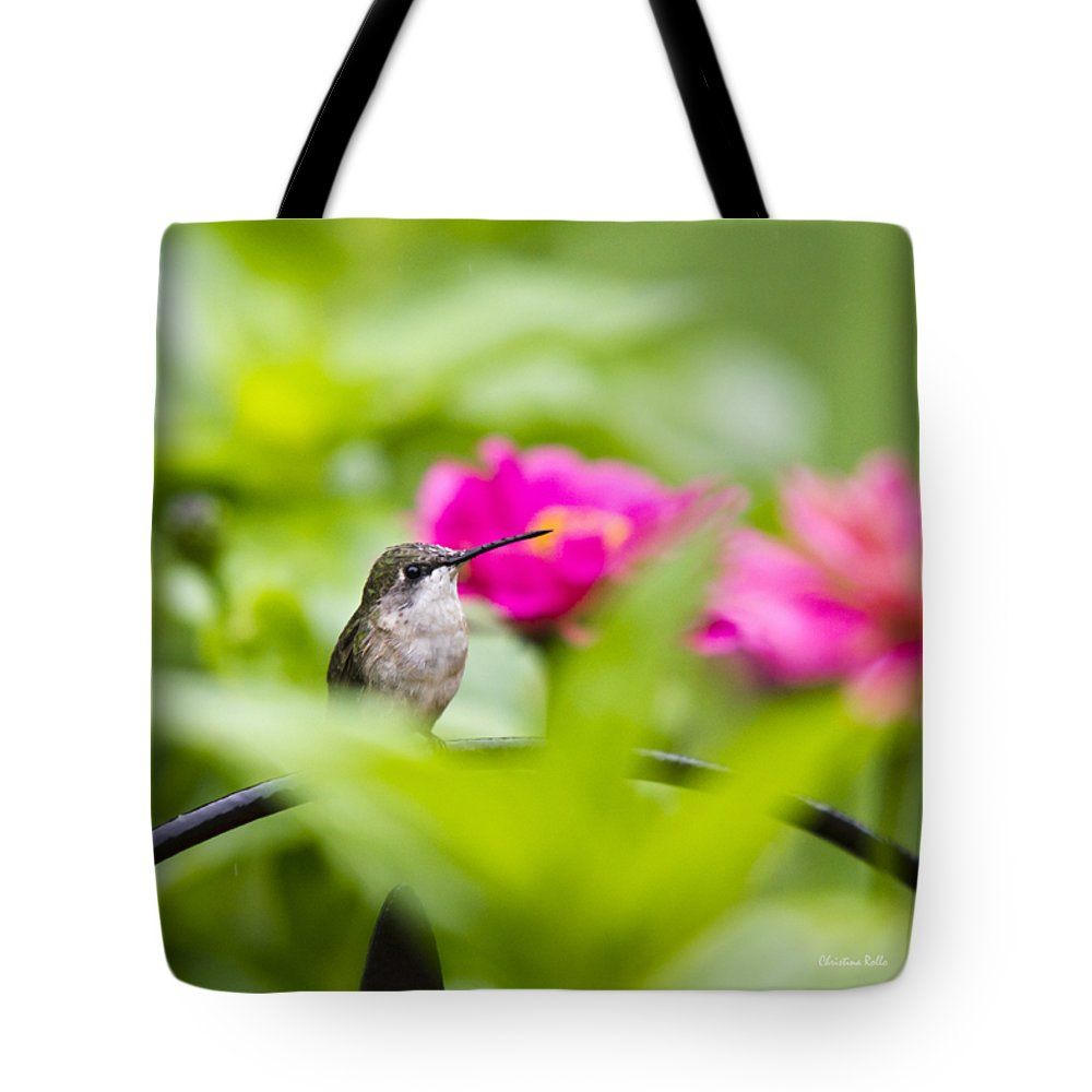 "Pretty Garden Jewel Hummingbird Sqauare Tote Bag by Christina Rollo (18"" x 18"").  The tote bag is machine washable, available in three different sizes, and includes a black strap for easy carrying on your shoulder.  All totes are available for worldwide shipping and include a money-back guarantee."