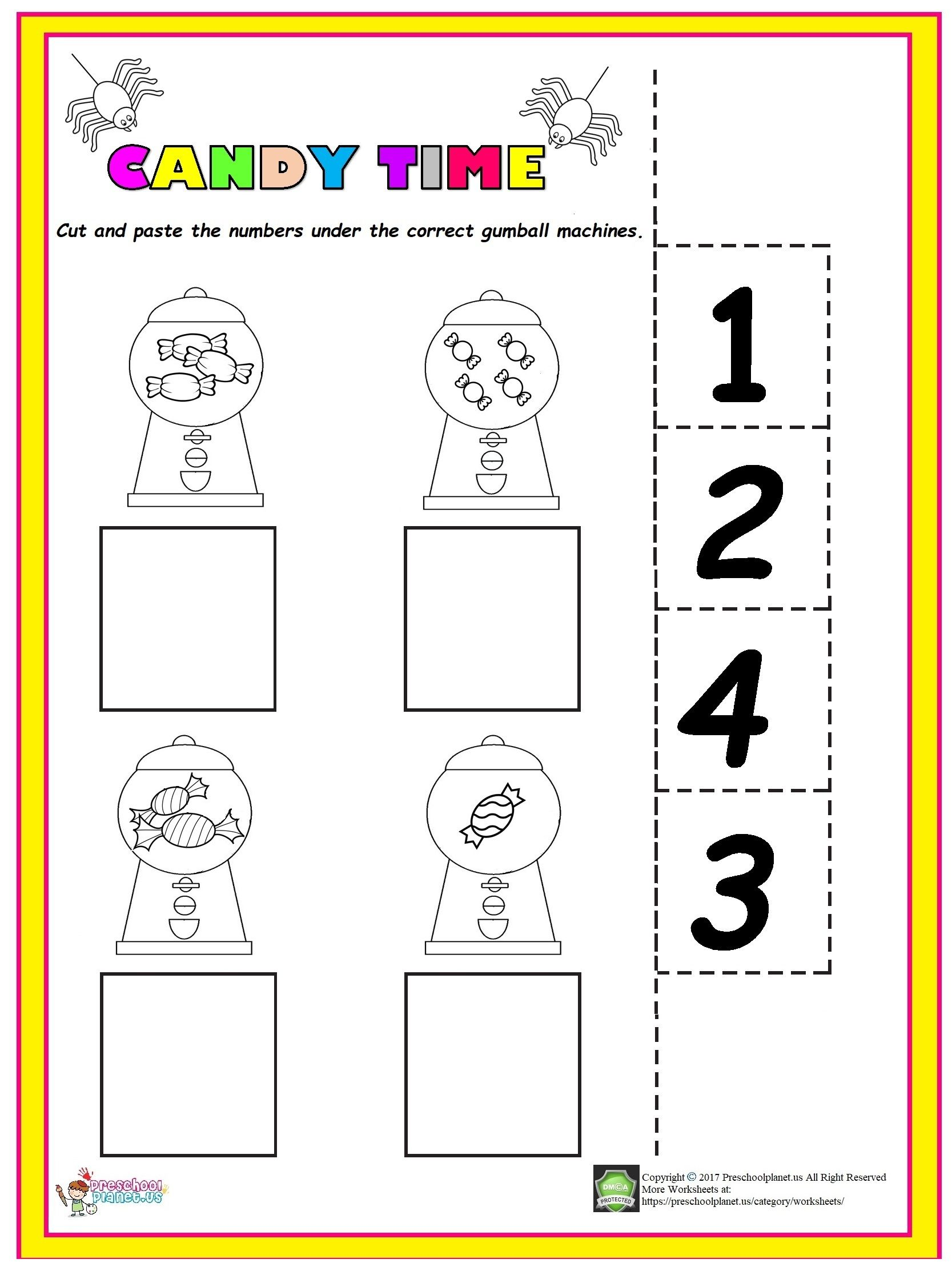 Easy Candy Counting Worksheet | Preschool homework ...
