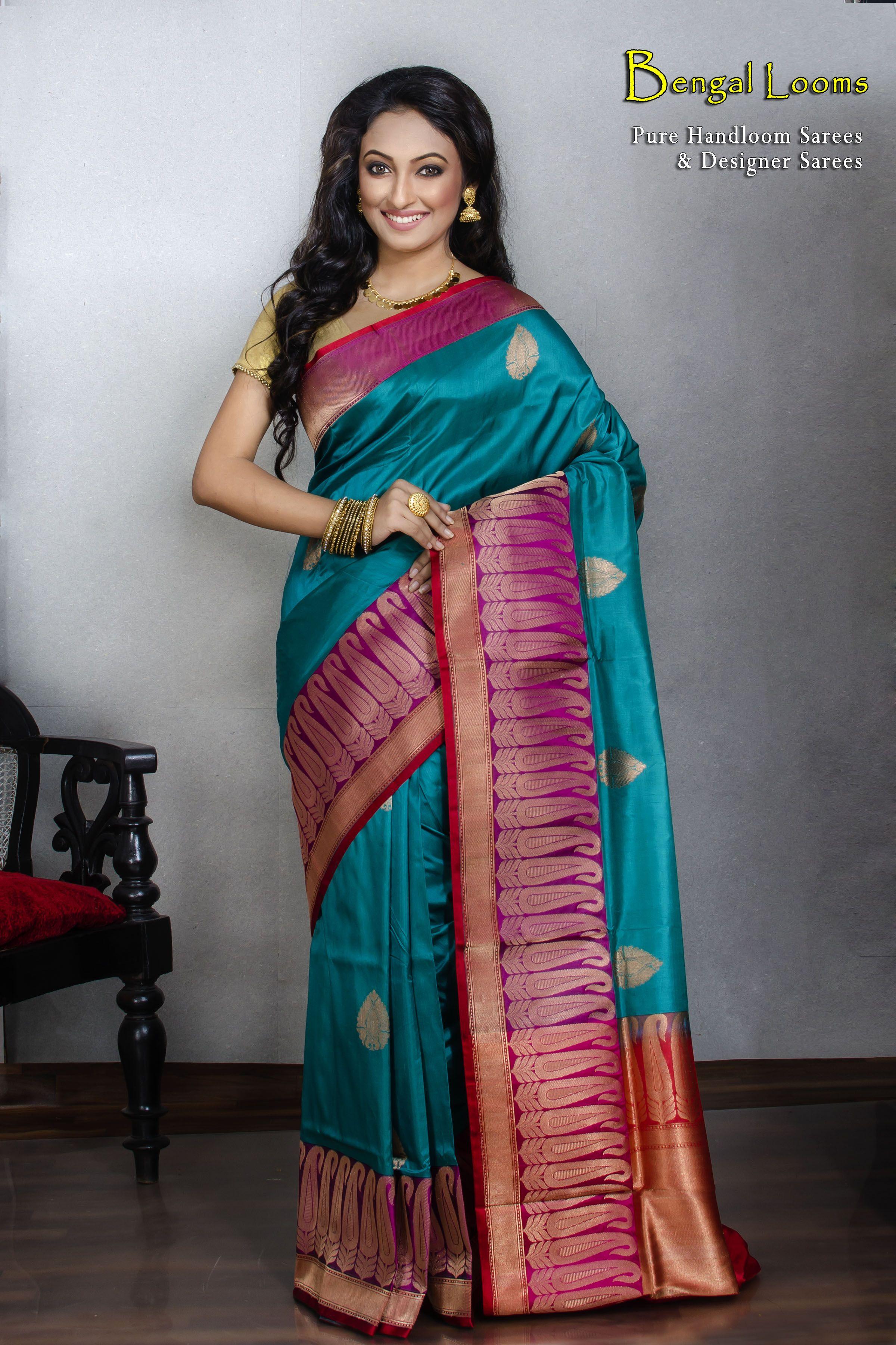 a5595e76278263 Pure Katan Silk Banarasi Saree in Blue