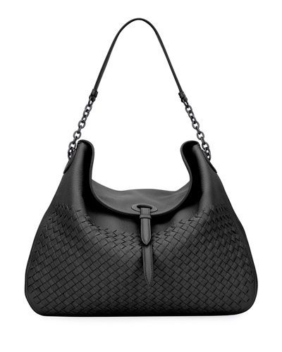 f015ddad883 BOTTEGA VENETA Intrecciato Cervo Flap-Top Hobo Bag, Black.  bottegaveneta   bags  shoulder bags  lining  suede  hobo