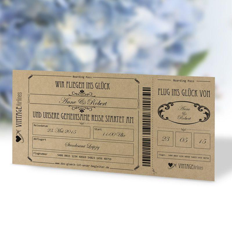 #Einladungskarte #Hochzeit #Vintage #Boardingpass #Flugticket