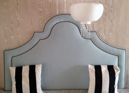 King Baby Blue Velvet Headboard With Two Rows Nailead