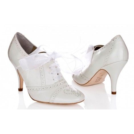 Rachel Simpson Olivia Ivory Leather Vintage Wedding Shoe Boots Full Shoes B