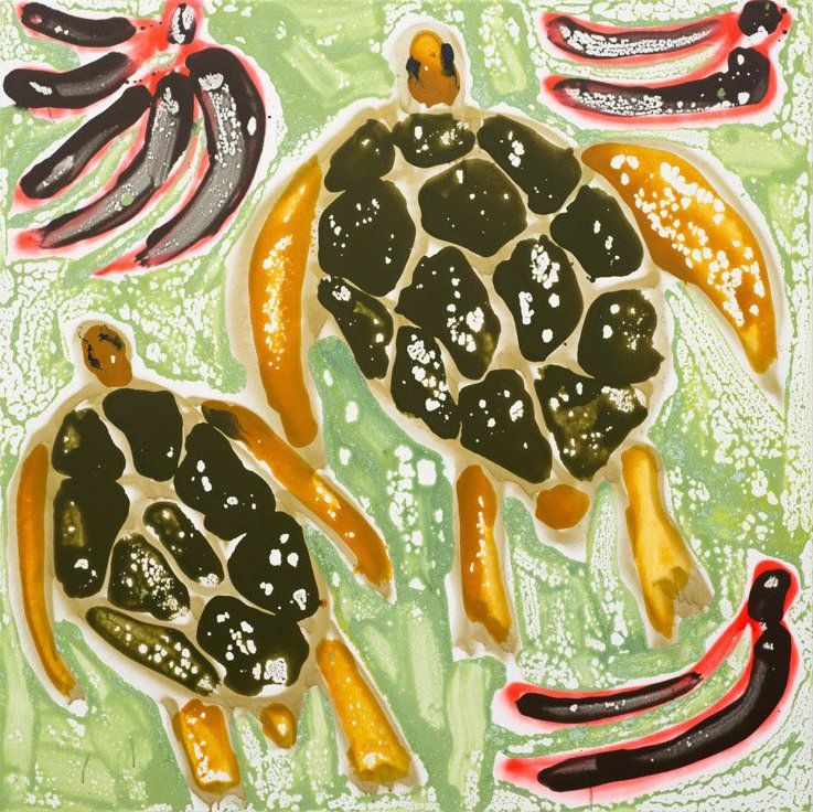 Turtles and Plantains by Katherine Bernhardt, 2015, acrylic and spray paint on canvas | CANADA