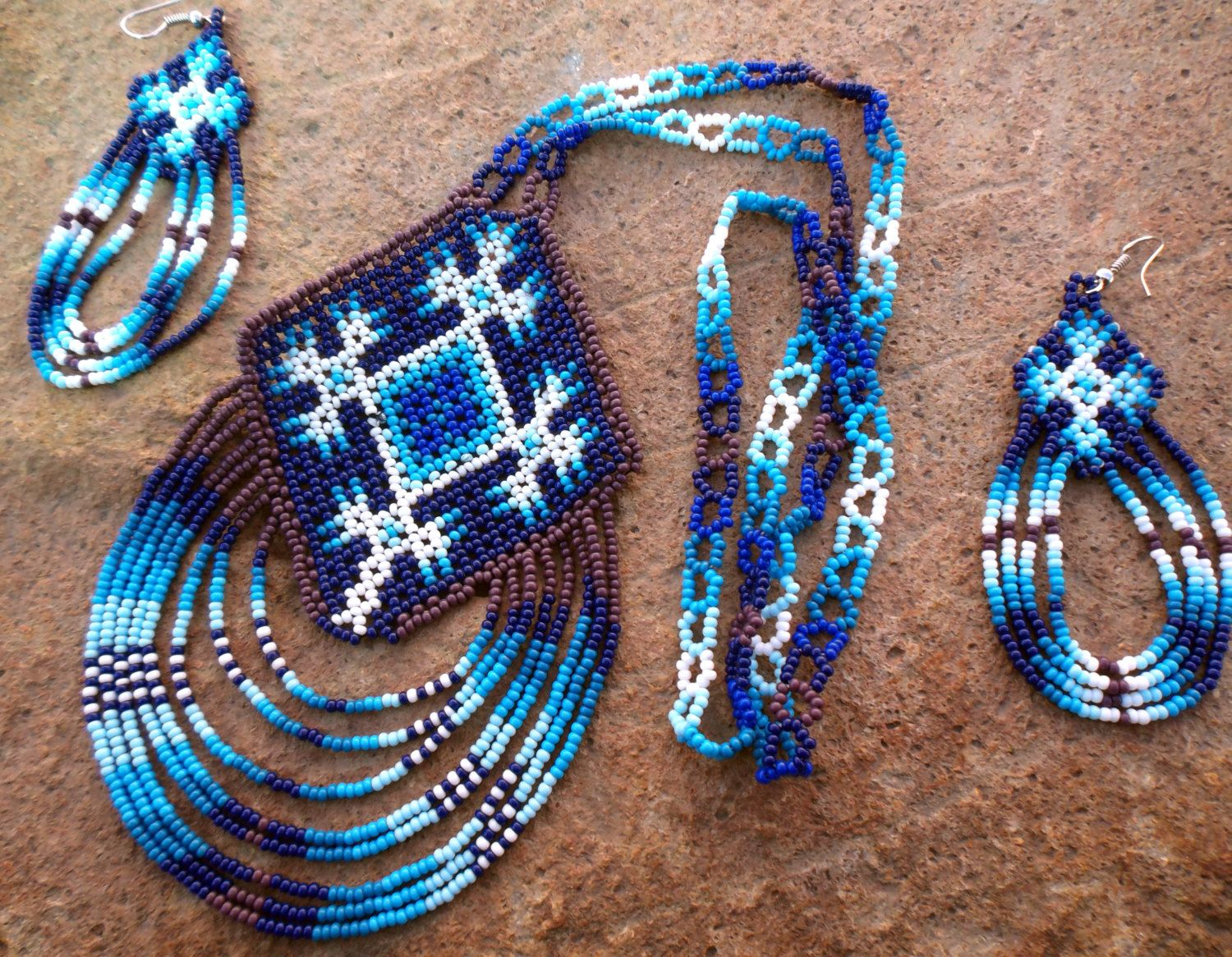 Mexican Huichol Beaded Ojo de Dios - Eye of God Necklace and earrings set by Aramara on Etsy