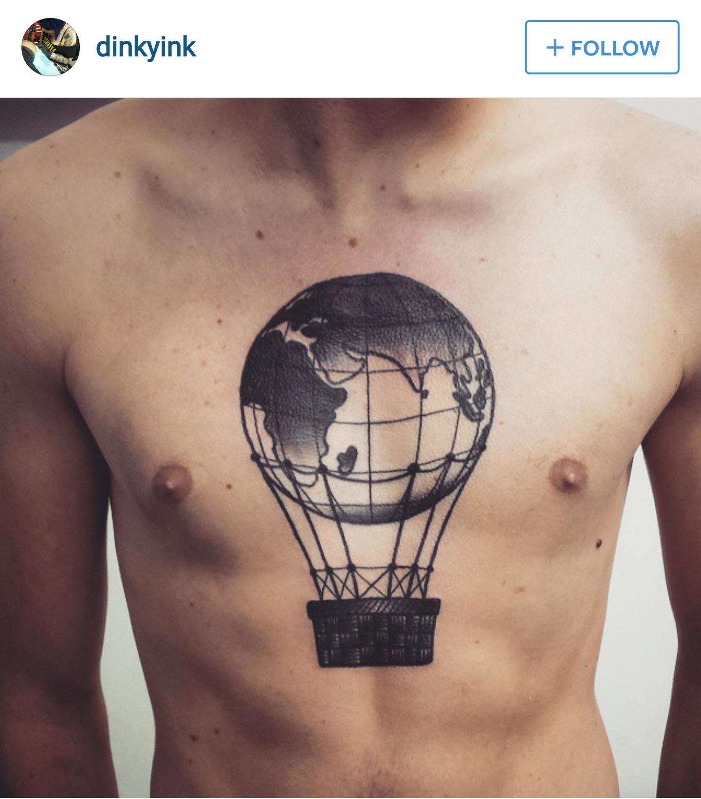 world globe tattoo hot air balloon art pinterest