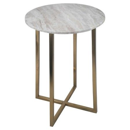 2311 Circular Accent Table Brown Marble Gold Threshold Target
