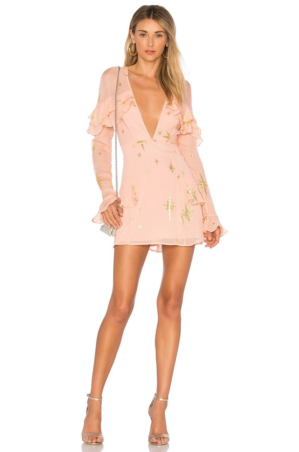bb6e259d1daf For Love & Lemons Gilded Star Mini Dress in Rose Gold | REVOLVE ...