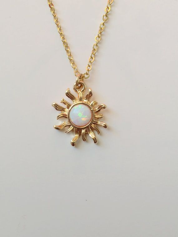Sterling Silver Sun Charm Pendant Gifts For Her White Opal Sun Necklace Celestial Charm Opal Pendant White Opal Jewelry