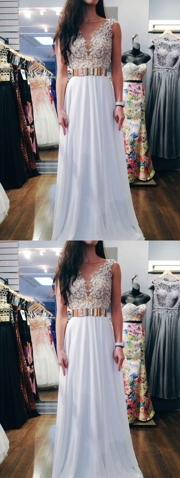 White prom dress beaded prom dress long prom dress prom