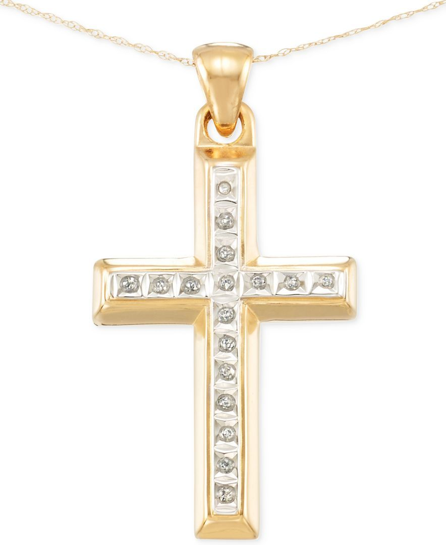 Signature Diamonds Cross Pendant Necklace in 14k Gold over Resin