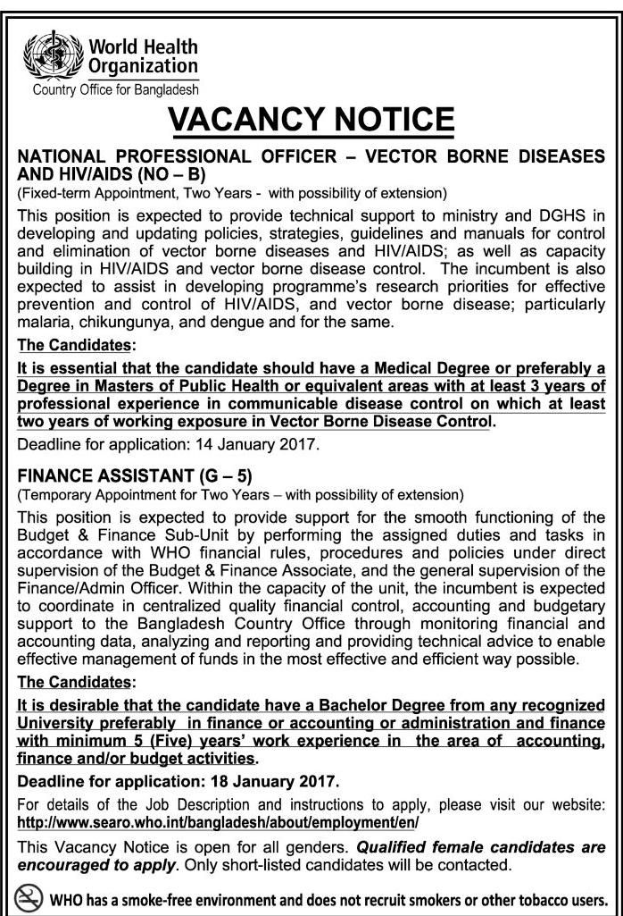 who-world health organiztion bangladesh job circular 2017 health - medical officer job description