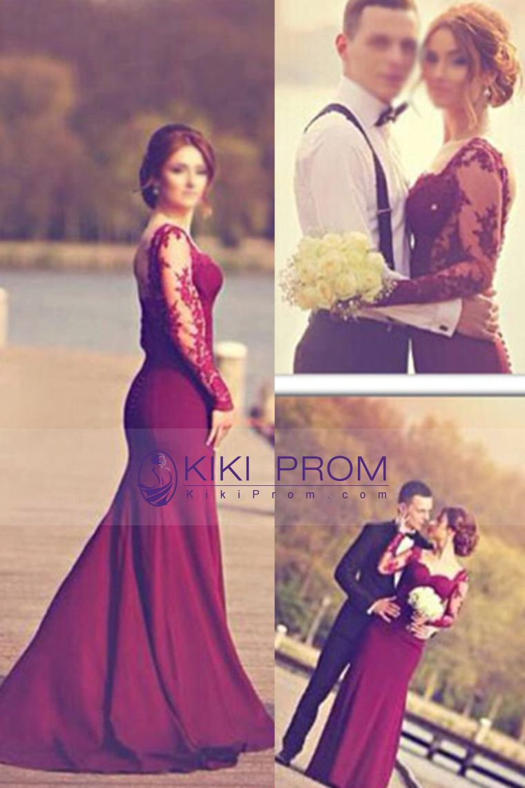 long sleeves prom dresses spandex mermaid with applique