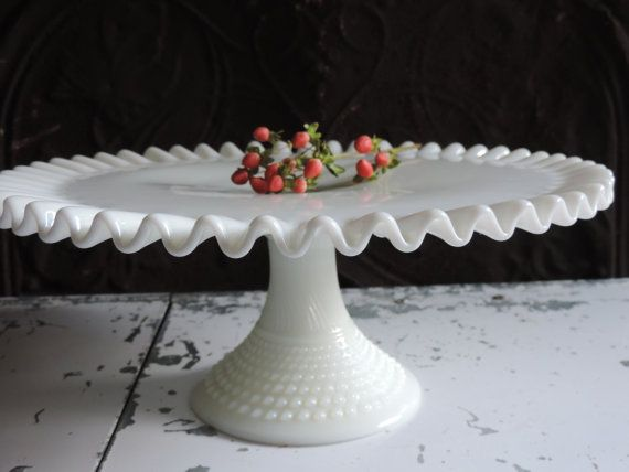 Vintage Fenton Cake Stand White Milk Glass Cake Stand Cupcake Stand 1950 Ruffled Hobnail Pedestal Wedding Cake Plate & FENTON Cake Stand Rare Design Milk Glass Hobnail Ribbed Pedestal ...