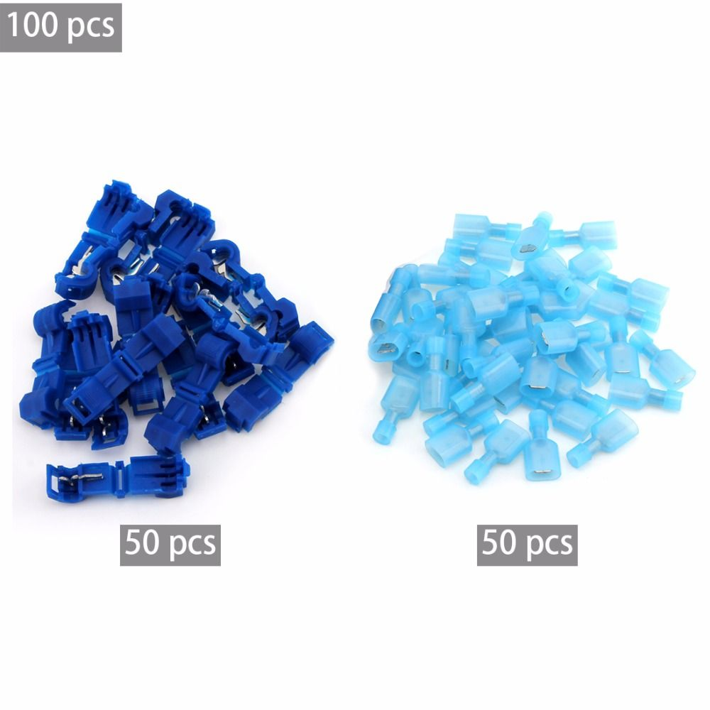 TN 100Pcs T Tap Insulated Electrical Cable Connectors Quick Splice ...