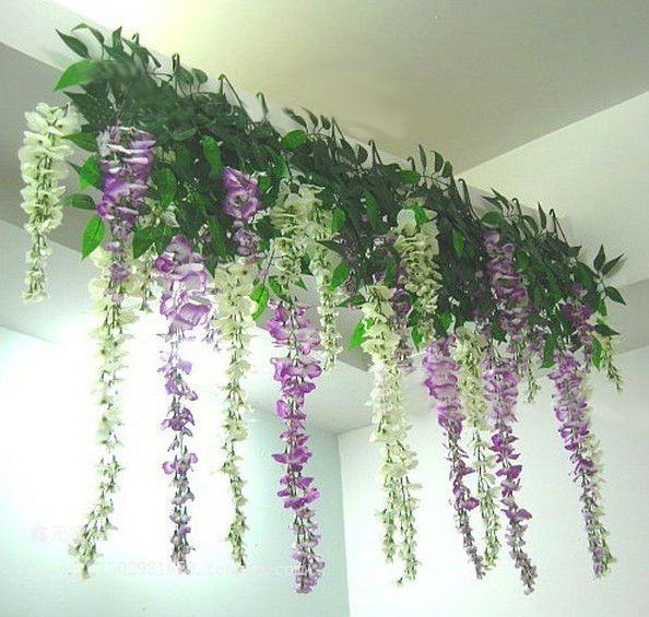 1 X Handing Artificial Silk Wisteria Fake Flower Vine Wedding Decor Garden Plant Artificial Plant Wall Hanging Flowers Fake Flowers