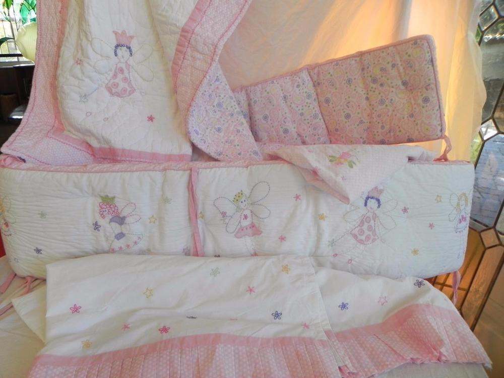 Pottery Barn Kids Princess Fairy Crib Bumper Quilt Bedskirt Sheet