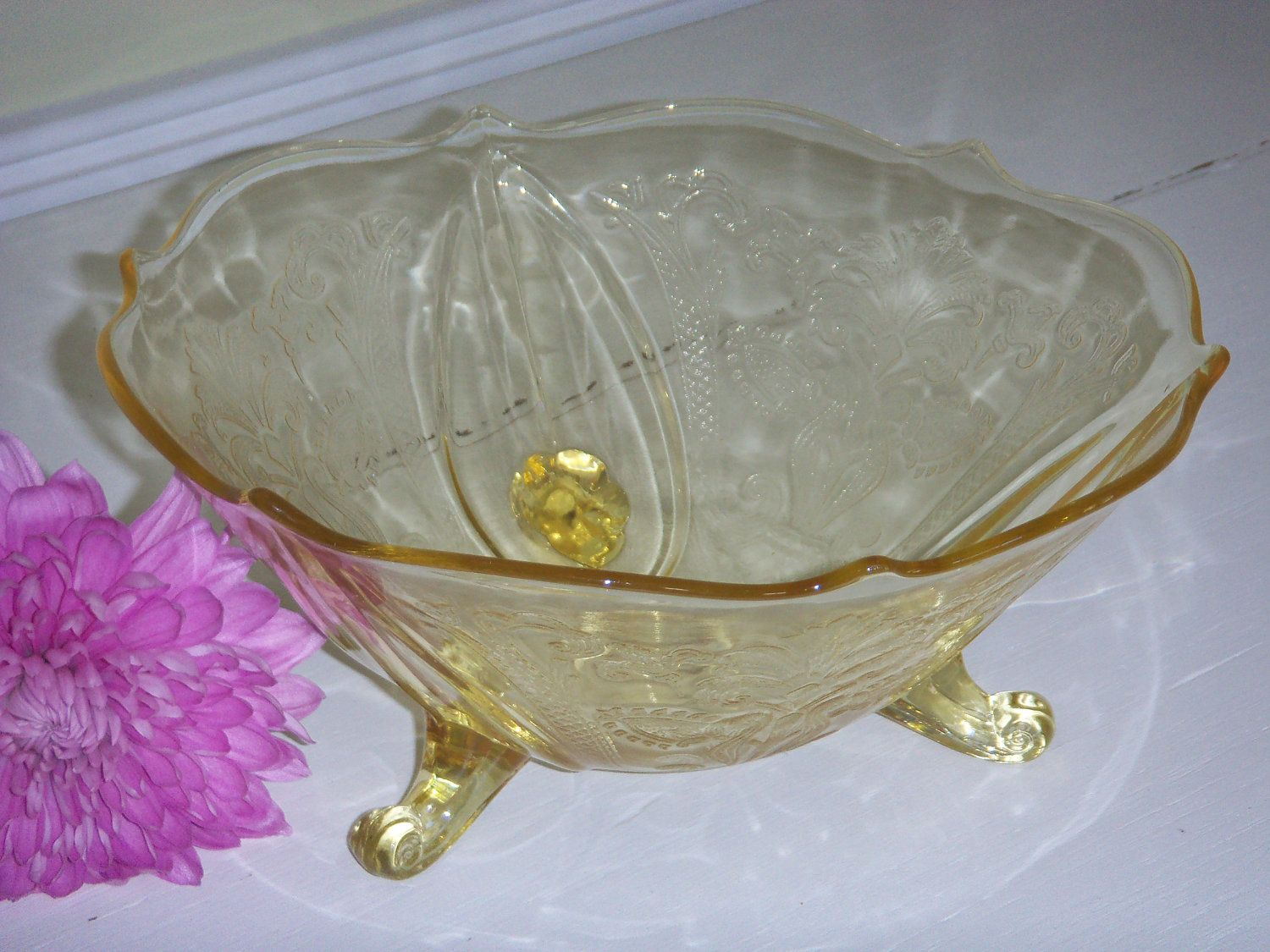 Yellow Depression Glass footed bowl | Vintage Glass Candy ...