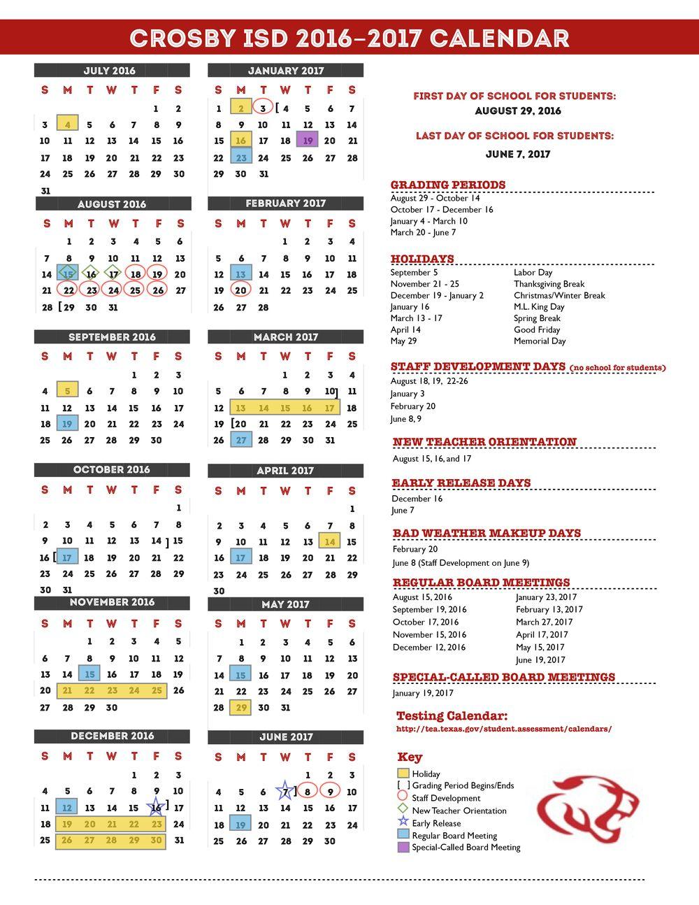 Crosby Independent School District — Calendar