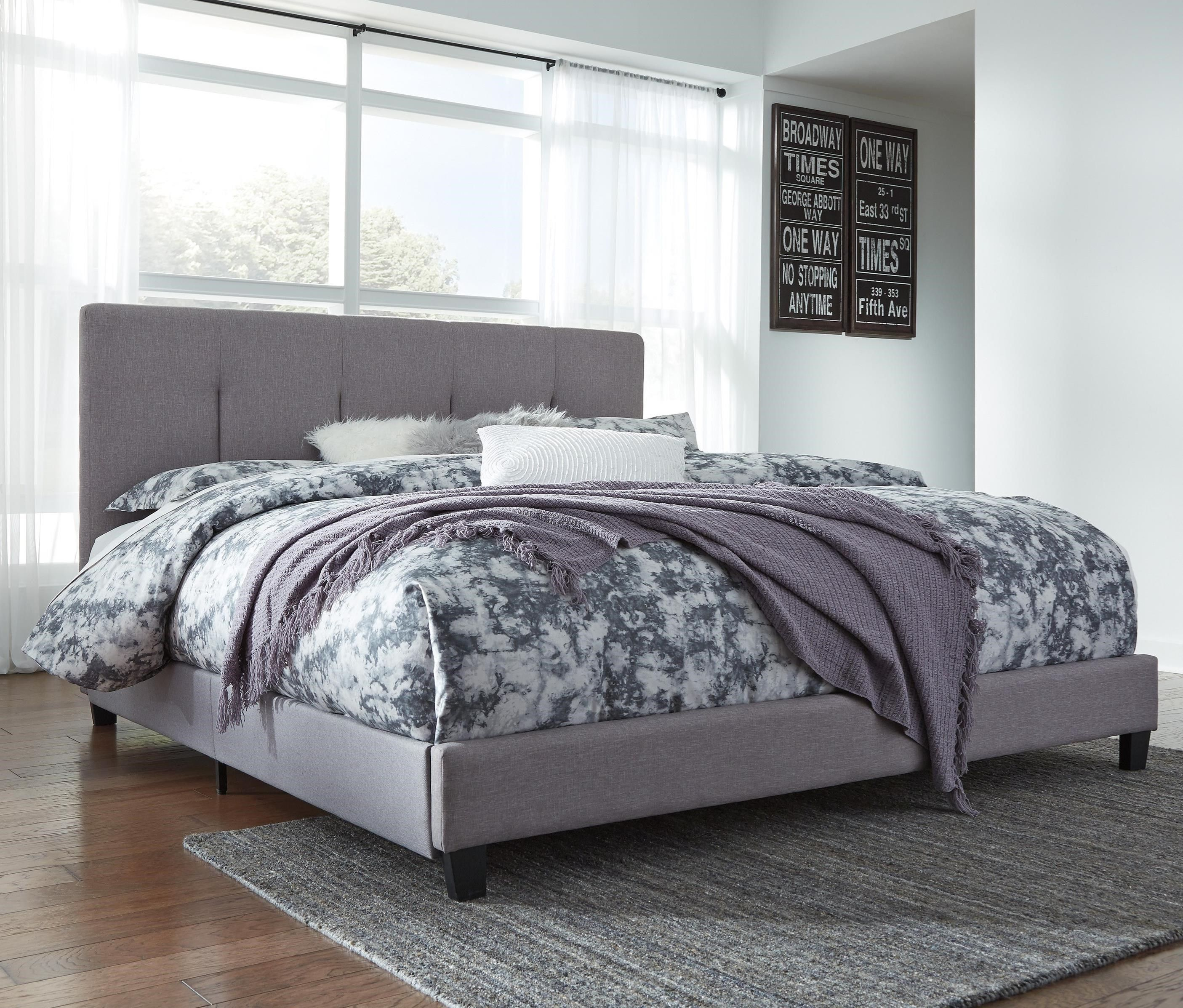 Dolante King Upholstered Bed with Channel Tufting & Gray