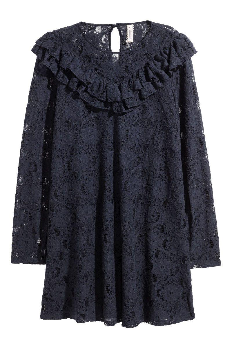 Dark blue short flared dress in lace with a double ruffles at top