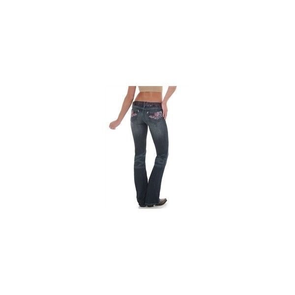 Wrangler Women's Rock 47 Ultra Low Rise Jean - Dark Wash ($70) ❤ liked on Polyvore featuring jeans, wrangler jeans, white jeans, low rise white jeans, dark rinse jeans and rock jeans