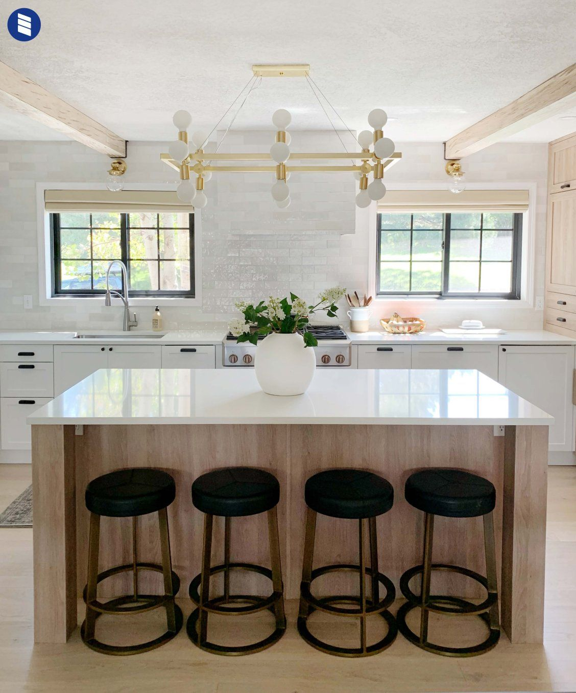 Chris Loves Julia S Kitchen Makeover Choosing Shades That Compliment Your View Instead Of Covering It Blinds Com Contemporary Kitchen Small Kitchen Decor Woven Wood Shades