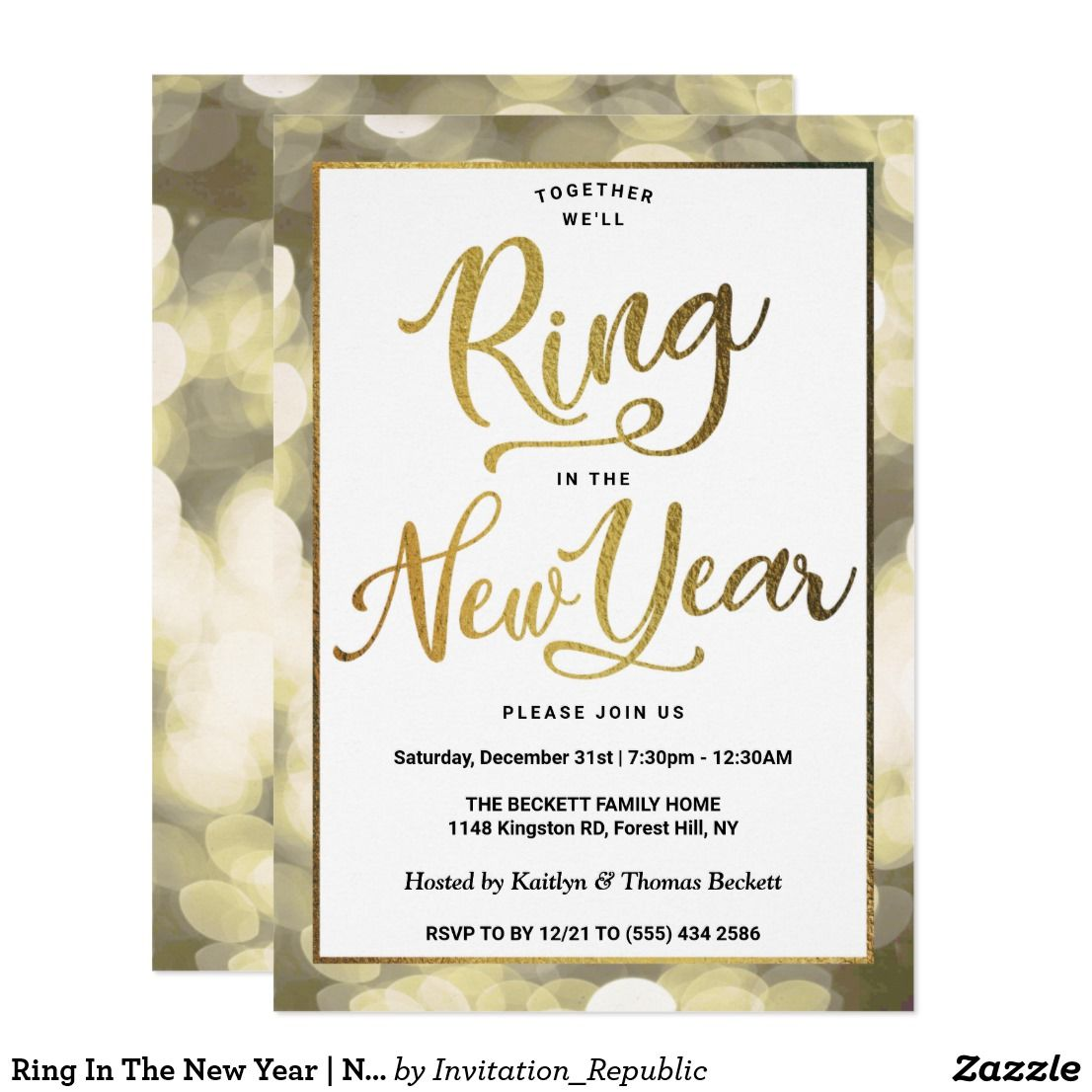 Ring In The New Year New Years Eve Party Invitation