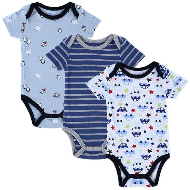 8bef1b367bb8 Newborn Baby Romper Girls and Boys Short Sleeve Cotton Cartoon ...