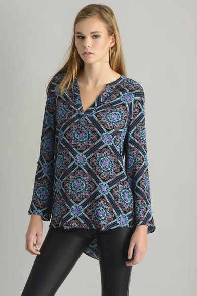 Daniel Rainn Geometric Floral ¾ Sleeve Blouse in BLACK MULTI