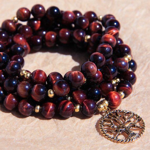 Mala Prayer Beads, Buddhist Mala, Healing Necklace, Red Tiger Eye Yoga Beads For Motivation & Goal Accomplishment