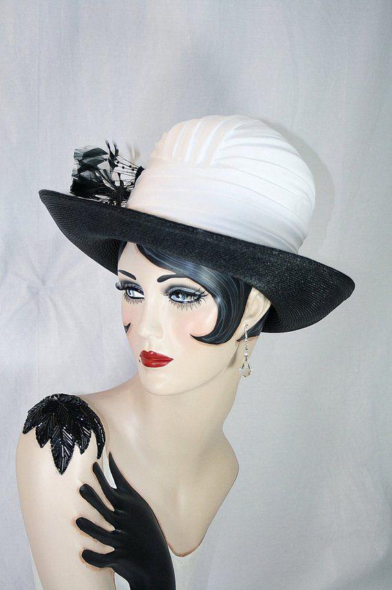 2c9053d2e0a Black White Hat Derby Hat Designer Hat Elegant Hat White Pleated Hat Black Feather  Hat Stylish Hat V